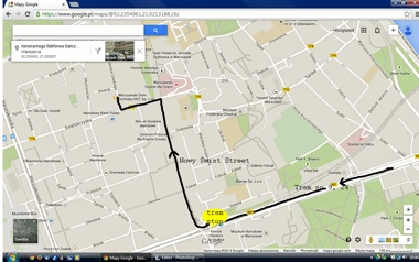 Directions from the venue - end of tram transportation